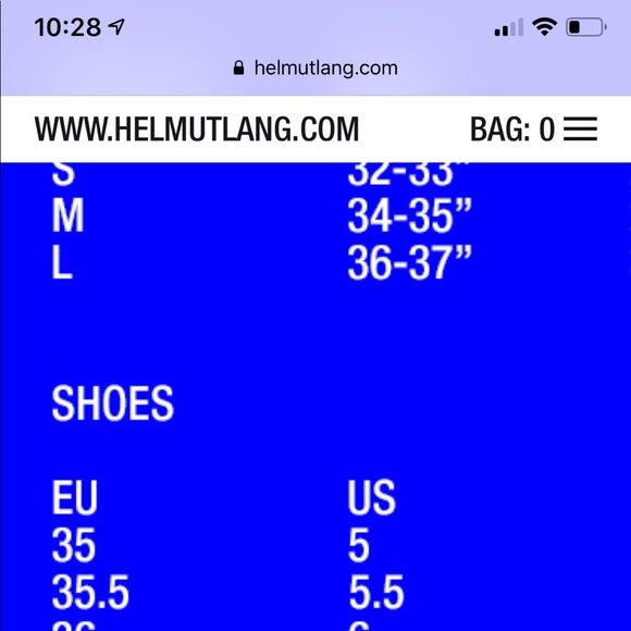 Shoe Size Chart For Helmut Lang